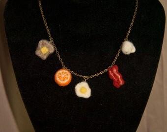 Breakfast To Go Felted Charm Necklace