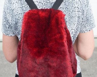 Vintage 90s Red Faux Fur Fuzzy Grunge Backpack Bag