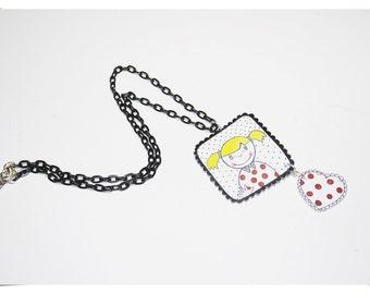 Little Girl Shrink Plastic Necklace - Frame of Litte Girl With Polka Dots Heart