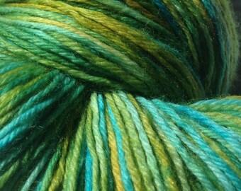 Hand Dyed superwash Sock yarn in Electric Avocado