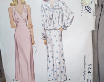 """Women's Nightgown & Jacket Vintage Women's Sewing Pattern McCall 5441 size 16** bust 34""""  **Cut** on sale** free ship"""
