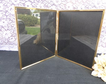 Vintage Gold Metal HINGED Picture Frame ~ Double Sided 8 x 10 ~ Bi-fold ~ Bridesmaids Wedding Antique Art Deco