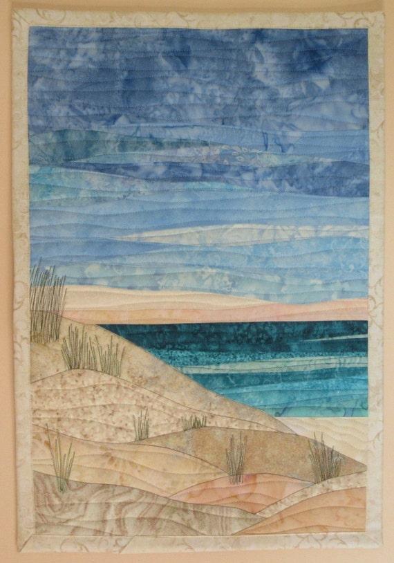 Art Quilt Ocean With Dunes 3 Beach Wall Quilt Landscape Art