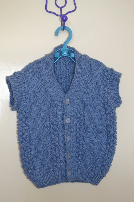 Baby Cable Waistcoat Blue Chunky Stylecraft 6-9 months