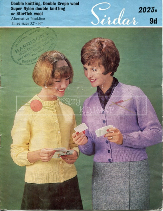 "Lady's Raglan Cardigans 32-36"" DK Sirdar 2023 Vintage Knitting Pattern PDF instant download"