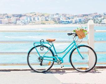 Beach print,Bondi Beach, Beach photography, pastel photo, beach bicycle, Affordable home decor, blue pastel, nautical print
