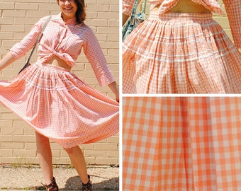 Peach and White Matching Gingham Skirt and Top