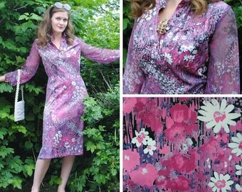 Vintage Purple Dress - Floral Dress, Purple Dress, Vintage Floral Dress, Vintage Dresses