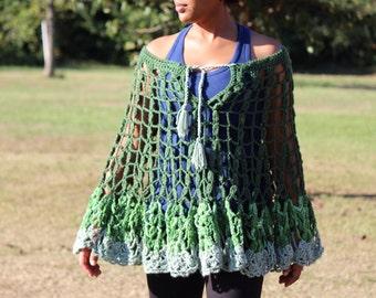 Sage Multi Crochet Poncho - Crochet Poncho - Women's Poncho - Teen Crochet Poncho - Crochet Cover-up M147