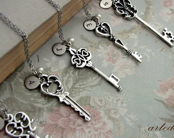 Will you be my Bridesmaid Gift Set of five Necklaces Keys Antique silver with Personalized Initials - Bridesmaid gift?