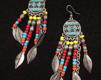 Western Bead & Leaf Earrings