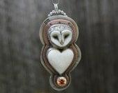 RESERVED......Porcelain Owl . Wildlife . Statement Necklace . Hand Stamped Sterling Necklace . Handmade . Rustic . Sterling Necklace. Relics