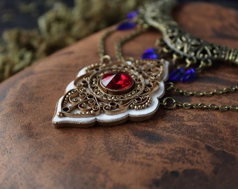 Ethnic pendant with red Swarovski, tribal red necklace, Indian red necklace, boho necklace