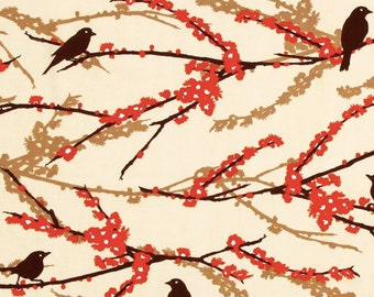 CLEARANCE Sparrows In Bark Fabric Joel Dewberry Aviary 2 Quilters Cotton Brown Cream Orange 1 Yard