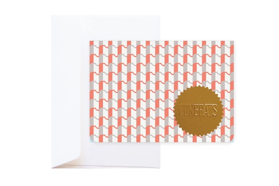 Sadie Congratulations Greeting Card (including envelope) // feat. Abstract Graphic Pattern & Gold Embossed Sticker