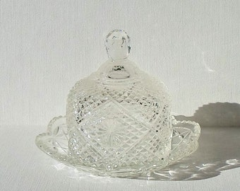 Vintage Avon Pressed Glass Clear Diamond Domed Butter Dish 1973-74
