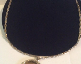 Gold tone mirror necklace 24 in