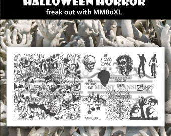 Nail Art Stamping Image Plate MM80XL - Halloween Horror Zombie Theme