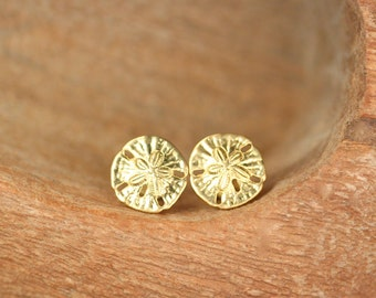 Sand dollar earrings - stud earrings - sand dollar studs - a mighty cute pair of golden brass sand dollar stud earrings
