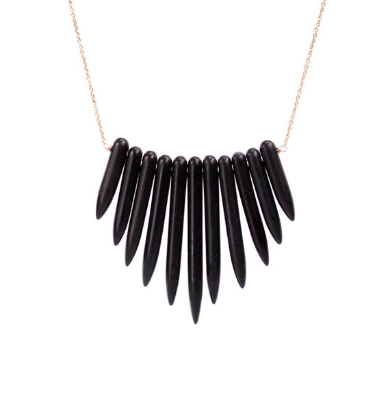 Bib necklace - little black dress necklace - goth necklace - black wand necklace - a row of black wands on a 14k gold vermeil chain