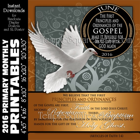 PRINTABLES LDS Primary June 2016 Monthly Theme Posters Handouts Bulletin Board Sharing Time 4th Articles of Faith 1:4