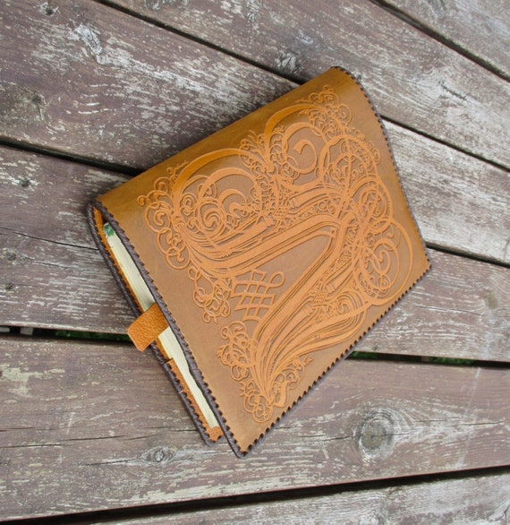 Leather Book Cover Pattern : Leather book cover vintage hand tooled notepad reading
