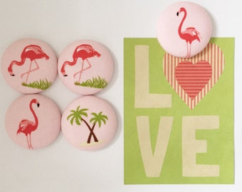 Flamingo Magnet Set, Fabric Covered Button Fridge Magnets Set of 5 in Gift Tin