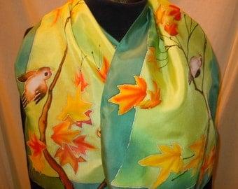 Hand painted silk scarf little birds on branches. Original design. green, aqua