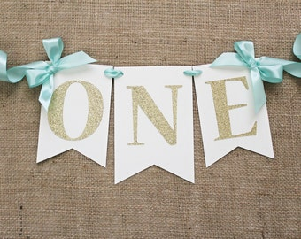 High Chair Banner | Mint and Gold Birthday Banner
