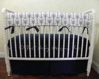 Navy Arrow Baby Bedding Set