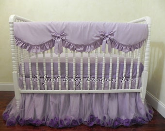 Baby Girl Crib Bedding Set Giselle Lavender - Lavender Baby Bedding, Bumperless Crib Bedding, Crib Rail Cover