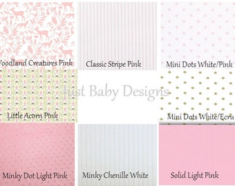 Custom Baby Crib Bedding - Girl Baby Bedding, Deer Crib Bedding, Pink Crib Bedding, Woodland Nursery