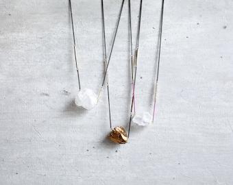 jewellery gemstone necklace . jewellery raw stone necklace jewellery quartz necklace minimal jewellery . raw gemstone . milky white pink