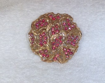 Red Ab Brooch Signed Sarah Coventry