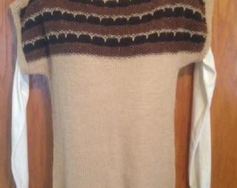 hand knit alpaca sweater, vest,