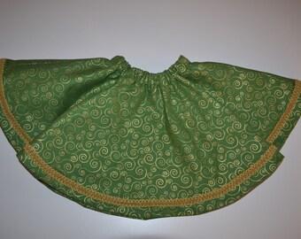 Green Cotton Gold Scroll Twirly Skirt