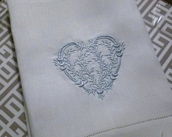 Custom Made Heart Hemstitched. Hand Towels