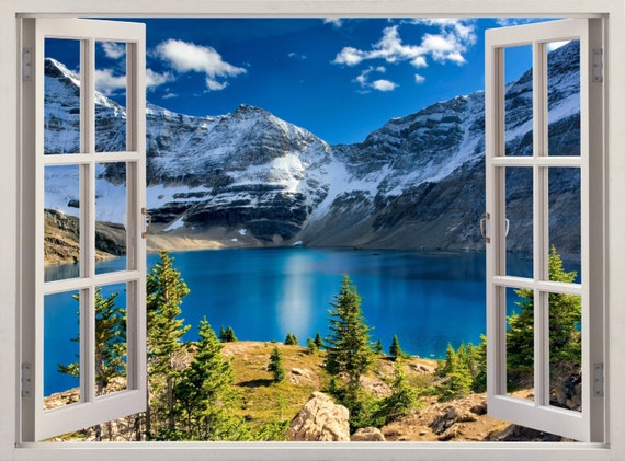 Rocky Mountain Lake Mural Instant Window View Scape 3d
