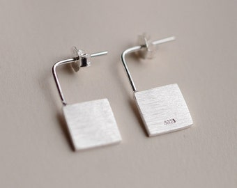 925 Sterling Silver Square Matte Finish Dangle Stud Earrings 1095