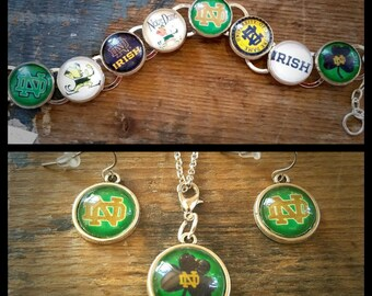 Notre Dame University Handmade Link Charm Bracelet Silver Plated Fighting Irish