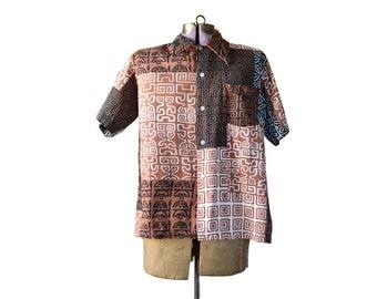 Hawaiian Shirt, Tiki Shirt, Aloha Shirt Size 16 Shirt,  Mens Hawaiian Shirt, Brown, Tiki Print, Mens Vintage Clothing