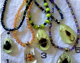 Bugs in resin -Real bugs - Insects in resin - Bugs in Resin necklace - bug jewelry - glow in the dark - real insect in resin pendant -goth