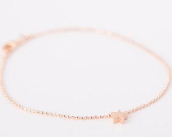 Bracelet Rosegold Star Love Chain Plated Stars Gold Plated Ballchain Chain Rosegold Plated Starlet