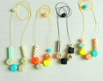 Neon Geometric Necklace, Wood Geometric Necklace, Geometric Jewelry