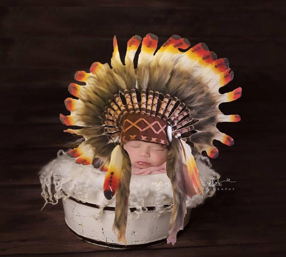 For 0 to 9 months  Baby / Newborn : Three colors American Indian Headdress for the little ones !