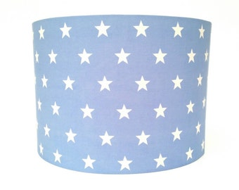 Baby Blue and White Stars Fabric Lampshade