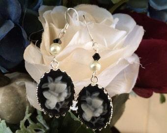 Cameo Flower Earrings