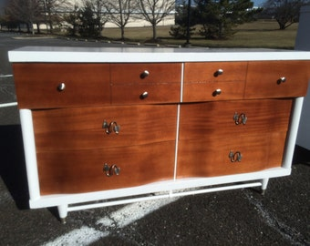 Mid Century Modern White and Mahogany 6 Drawer Dresser w/ Mirror