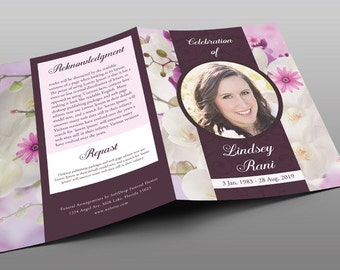 Orchid Funeral Program Template