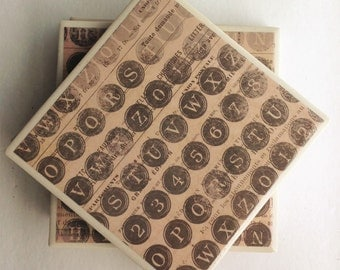 Ceramic Tile Coaster Set: Typewriter keys/letter coasters/ceramic tile coasters/alphabet coaster set/tile coaster set/Vintagelike coasters